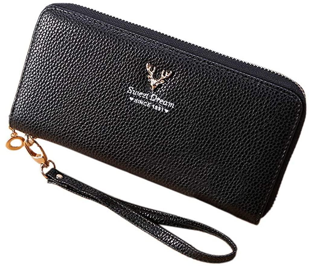 Women Letters Retro Purse Zipper Short Wallet Multi-Card Bag