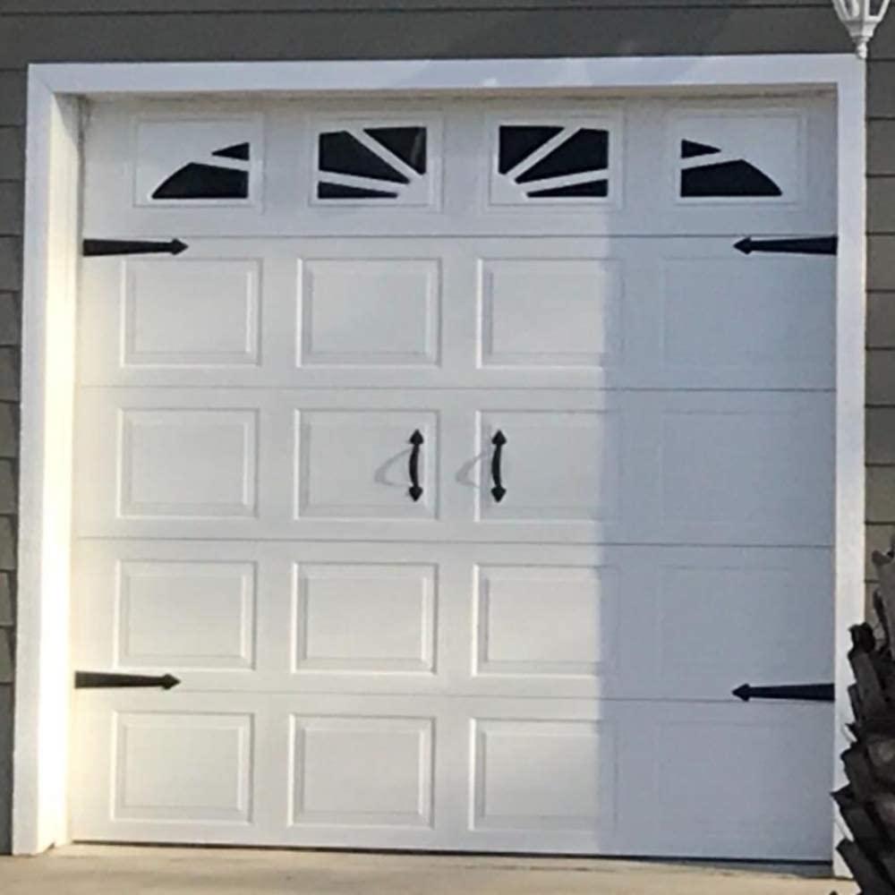 Flurries Magnetic Garage Door Handles Hinges, Garage Door Curb Appeal Faux Hardware Kit Color Black Decoration 4 Hinges and 2 Handles