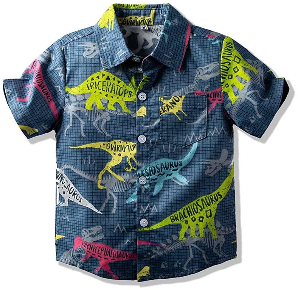 Hemopos Boys Summer Short Sleeve Dinosaur Print Plaid Shirts, Size 3-13 Years