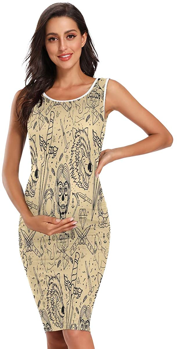 SLHFPX Tattoo Wolf Retro Summer Casual Maternity Dress Pregnancy Dresses Sleeveless Chothes Women