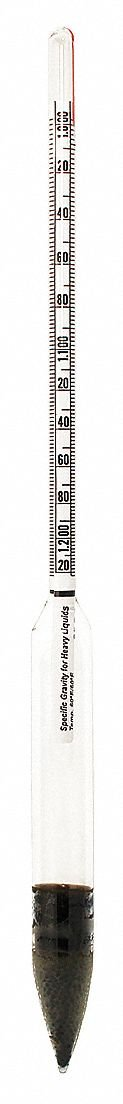 Vee Gee 6603-1 Specific Gravity Hydrometer, 1.000 to 1.220 Specific Gravity Range, 0.002 Subdivision, 305 mm Length, 60 Degree F Standard Temperature