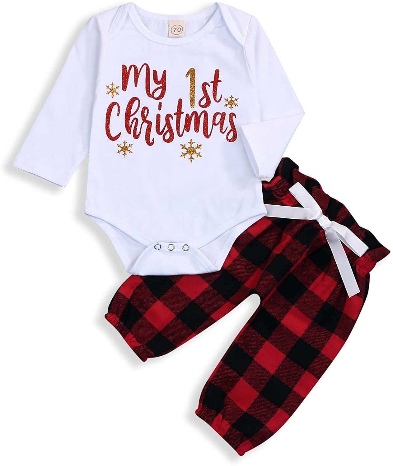 1st Christmas Outfits Toddler Baby Girl Boy Pants Sets Long Sleeve Romper + Plaid Pants Winter Clothes 0-24 Months