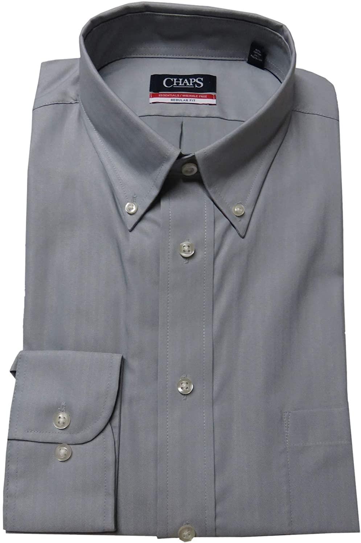 Chaps Men's Herringbone Twill Regular Fit Shirt, Size 18 18 1/2-36-37, Steel/Grey