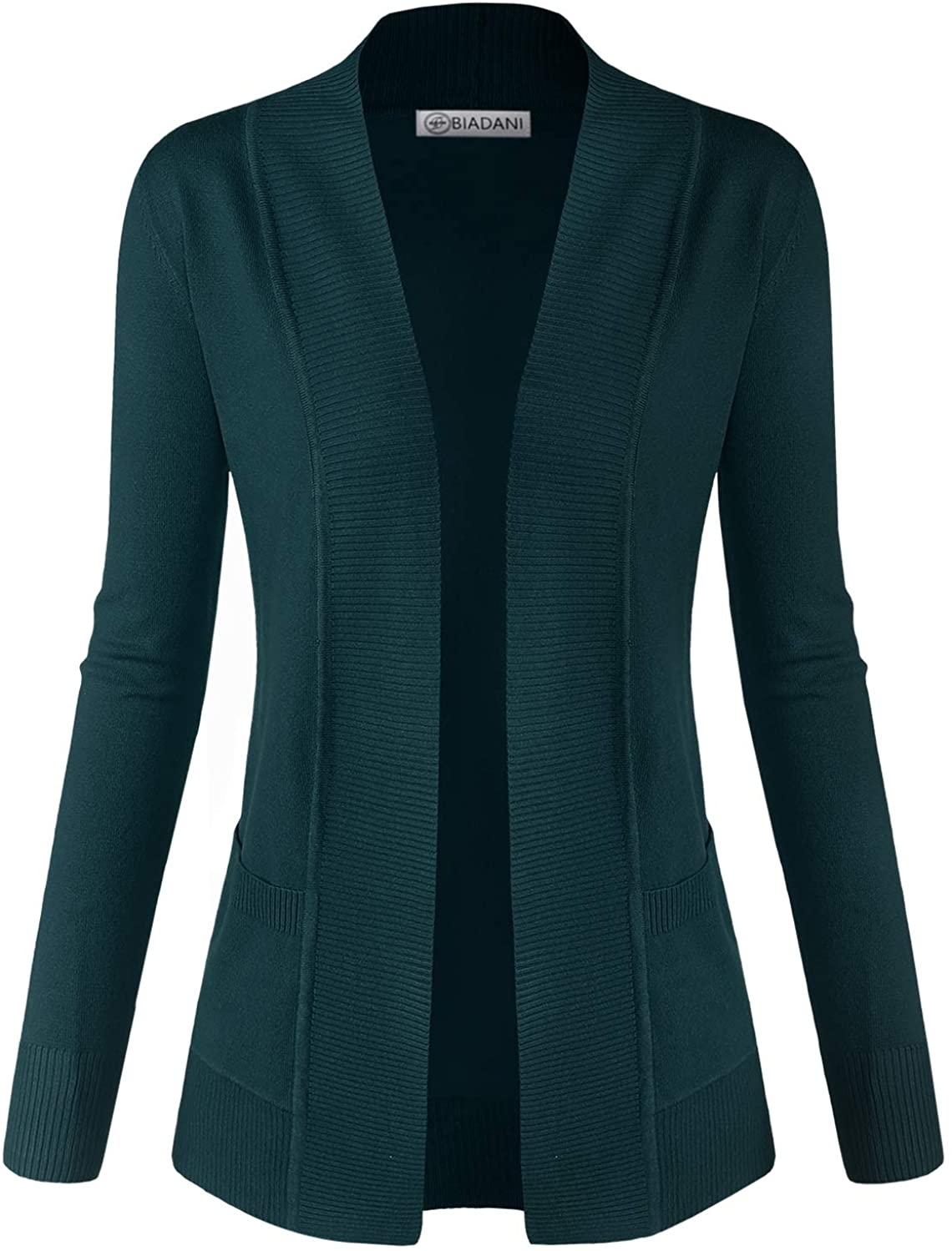 BIADANI Women Classic Soft Long Sleeve Open Front Cardigan Sweater Teal X-Large