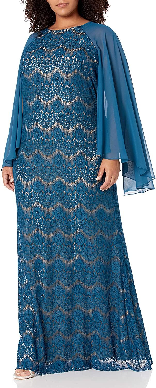 Betsy & Adam Women's Plus Size Long Lace Chiffon Sleeve Dress