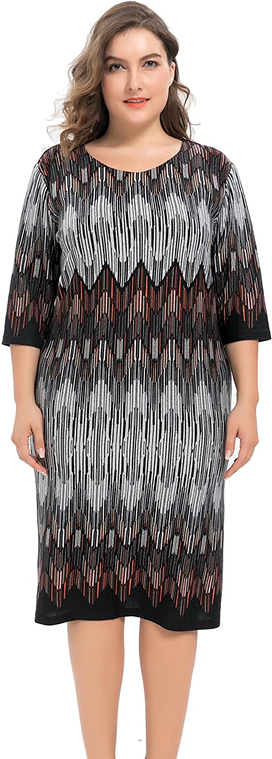Chicwe Women's Plus Size Stretch Printed Cashmere Touch Shift Dress - Knee Length Casual and Work Dress