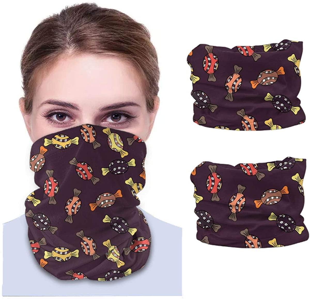 Pop Candy Funny Novelty Unisex Adult Face Mask 2 Pack Neck Gaiter Reusable Washable Windproof Mask Sports Outdoors Half Balaclava Ski Mask Bandana Women Men Gifts