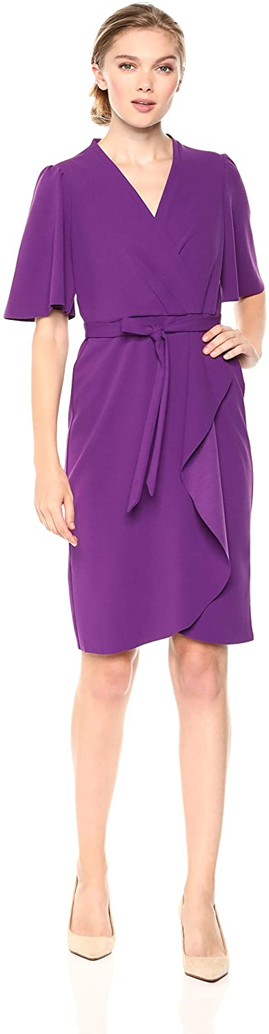 Donna Morgan Women's Crepe Faux Wrap Dress