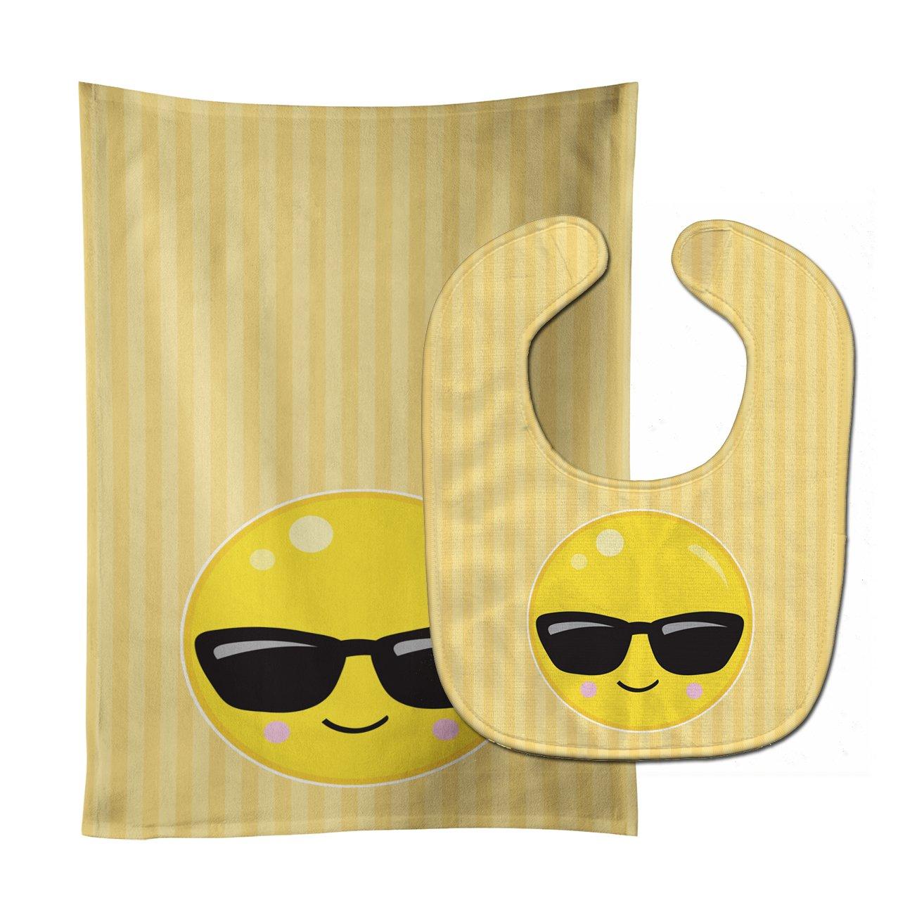 Carolines Treasures BB8740STBU Cool Sunglass Face Baby Bib & Burp Cloth, 11 x 18, multicolor