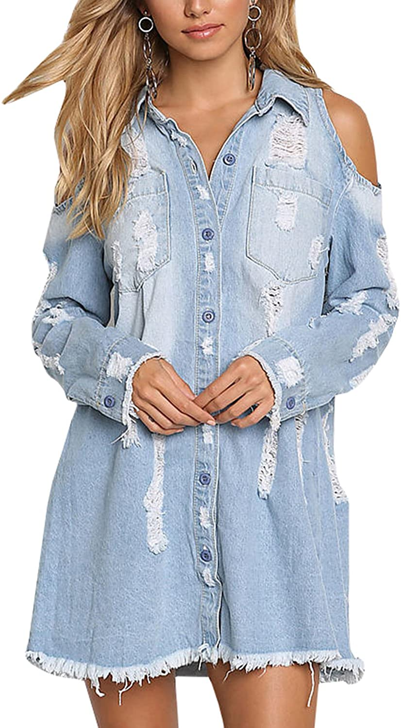 Meilidress Womens Cold Shoulder Distressed Demin Shirt Dresses Button Down Long Sleeve Frayed Jeans Jacket