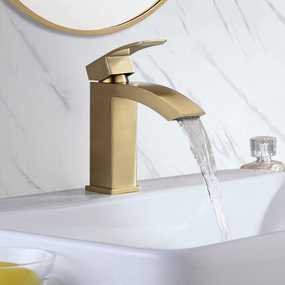 BULUXE Bathroom Sink Faucet in Brushed Gold, Contemporary Style Single Hole Single Handle Deck Mounted Gold Bathroom Faucet Solid Brass Bathroom Basin Mix Tap