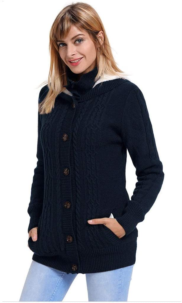 Womens Hooded Tops,Cable Knitwear Zip Up Cardigan Sweaters Thick Knitted Solid Long Sleeve Sweatshirt Pullover (Color : Dark Blue, Size : M)
