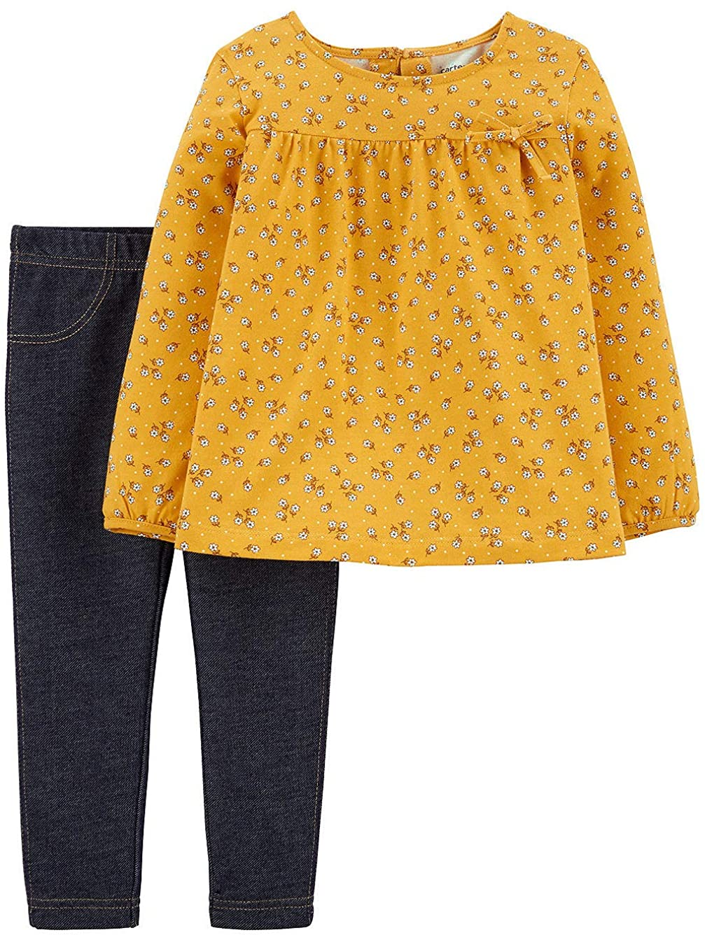 Carter's Girls' 2-Piece Long Sleeve Top and Legging Sets (5T, Yellow Floral Denim)