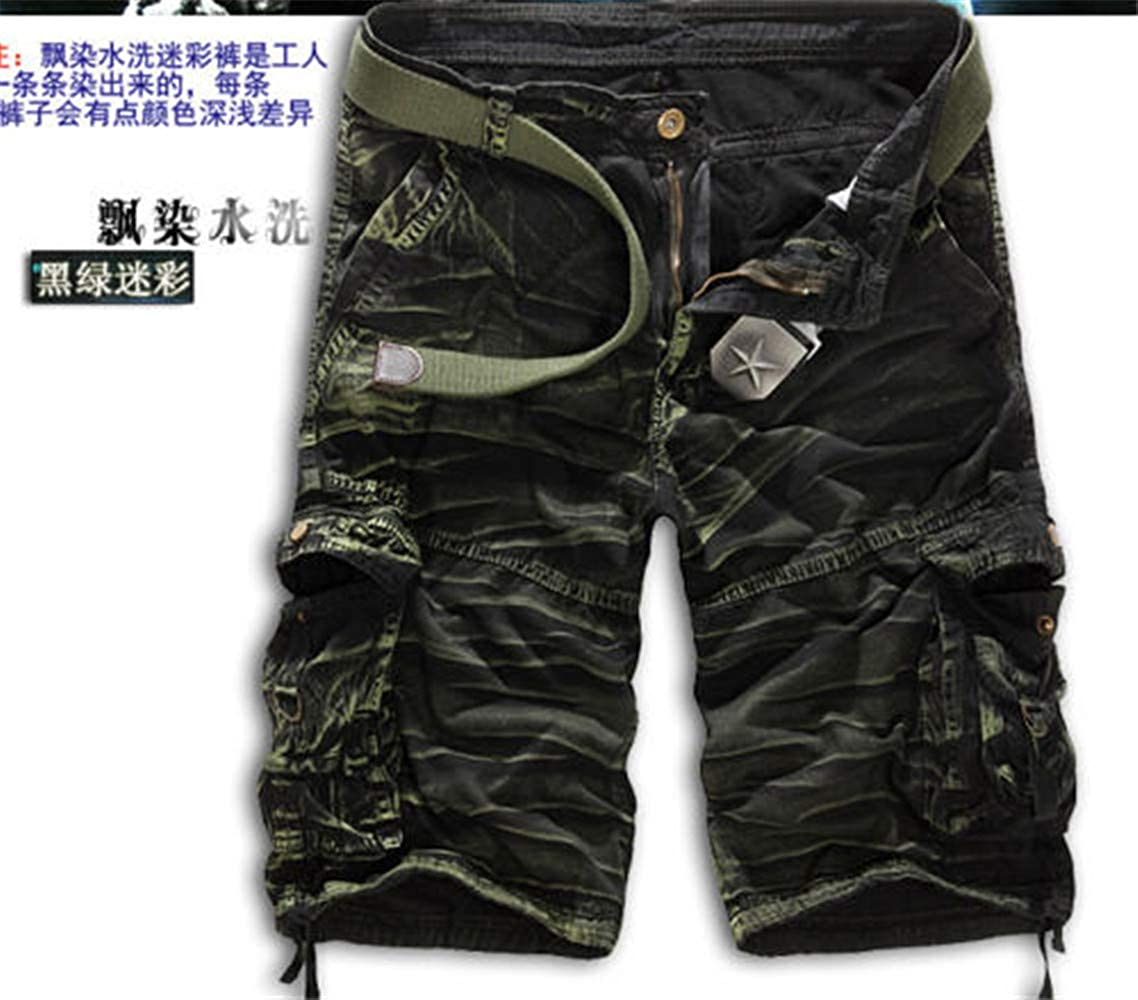 Zebery Men's Shorts Military Green Camouflage Tooling 5-Point Pants 30