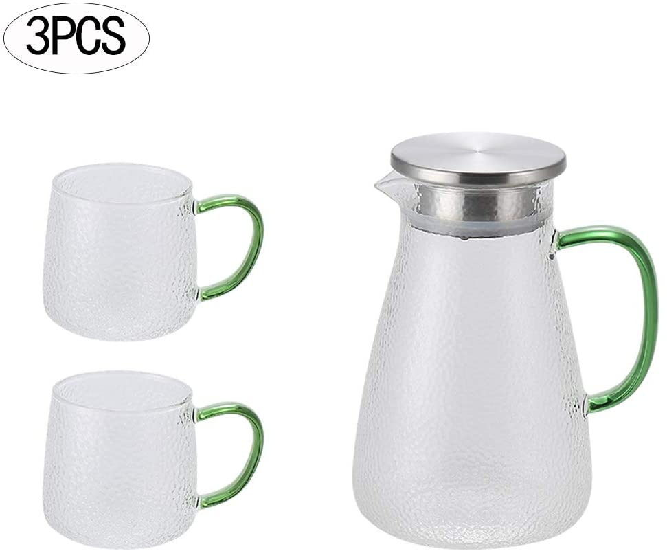 ZPFDM Hammered Jug Glass Pitcher Set, 1.4 Liter, Borosilicate Jug with Handle and Stainless Steel Lid for Hot/Cold Water, Coffee, Ice Tea, Juice Beverage