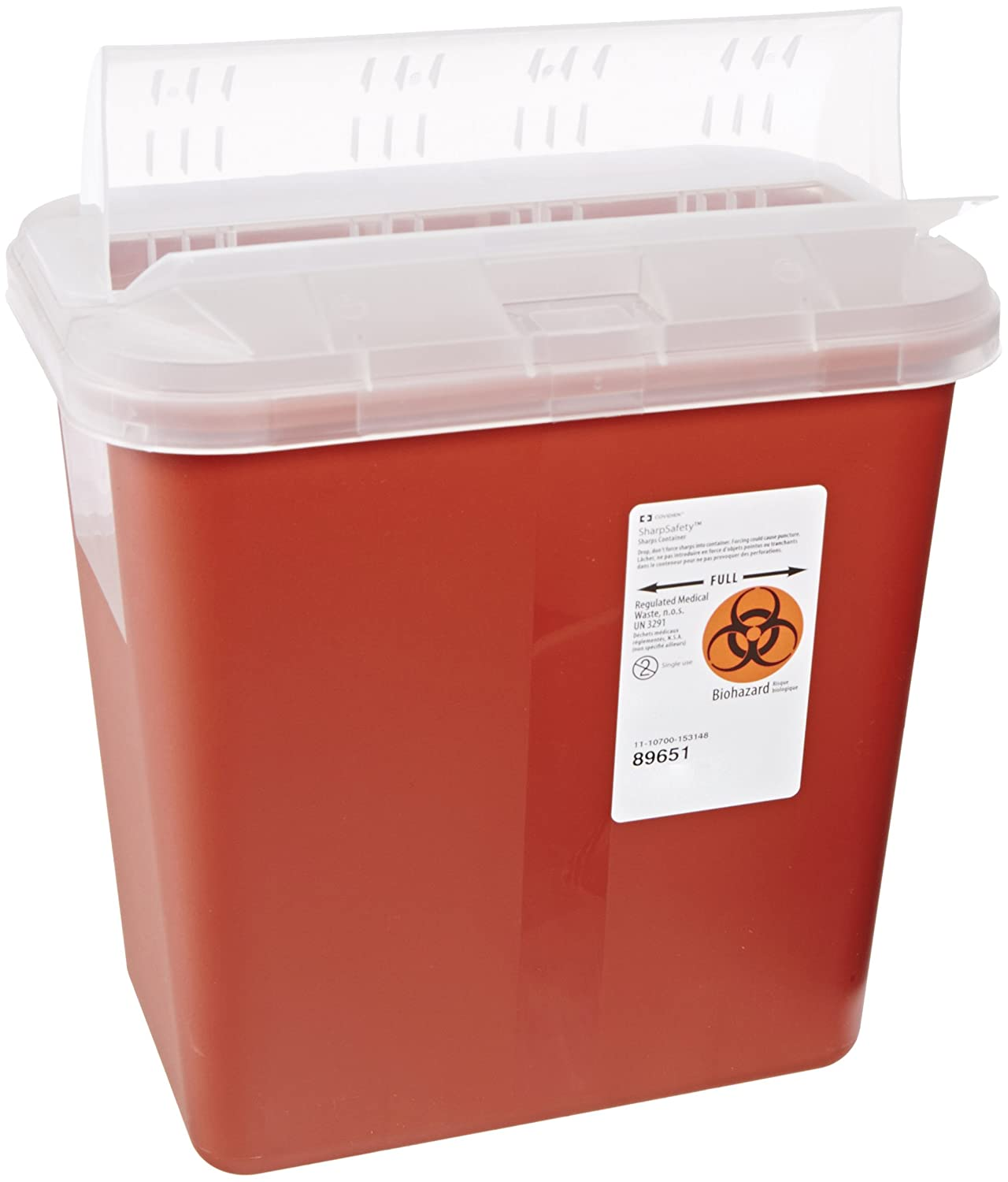 Kendall 89651 SharpSafety Sharps Biohazard Waste Container with Horizontal-Drop Opening Lid, 2 Gallon Capacity, Red (Case of 20)