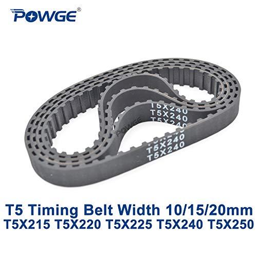 Ochoos T5 Synchronous Timing Belt C=215/220/225/240/250 Width 10/15/20mm Teeth 43 44 45 48 50 Rubber T5X220 T5X225 T5X240 T5X250 - (Width: 10mm, Length: T5X250 50Teeth, Number of Pcs: 2pcs)