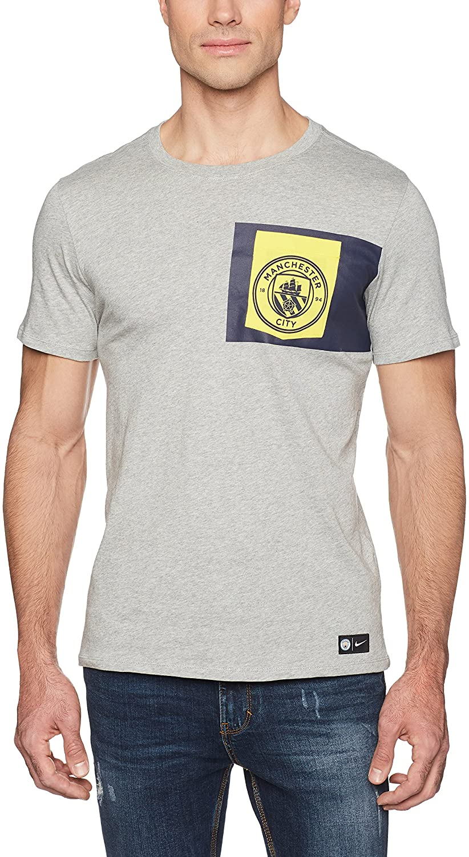 Nike Mens MCFC Manchester United Crest T-Shirt Dark Grey/Tour Yellow 832670-063 Size Medium