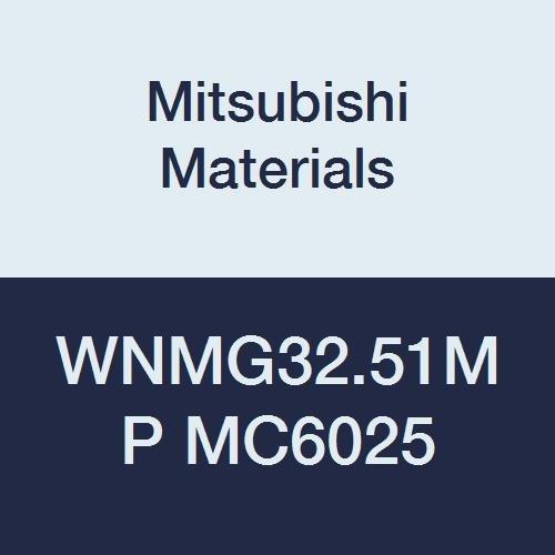 Mitsubishi Materials WNMG32.51MP MC6025 Carbide WN Type Negative Turning Insert with Hole, Coated, Trigon, Grade MC6025, 0.375 IC, 0.156 Thick, 0.016 Corner Radius, MP Breaker (Pack of 10)