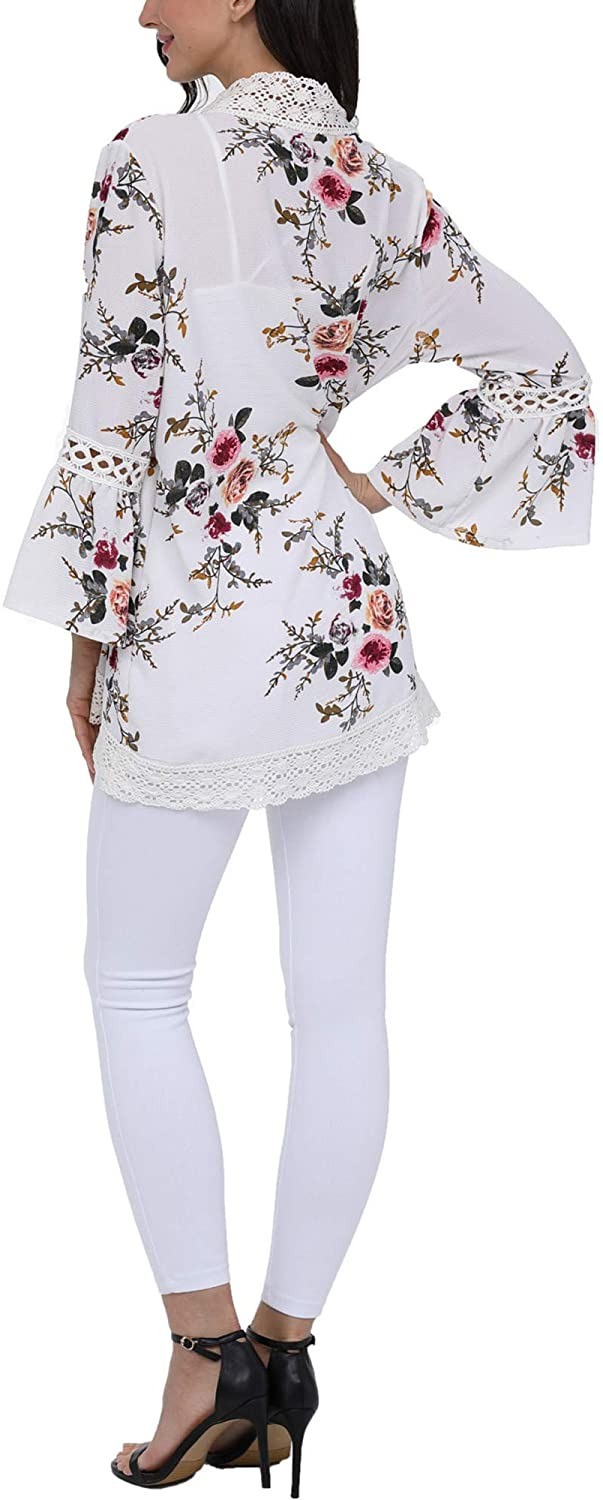 Womens Floral Print Kimono Cardigan Loose Puff Sleeve Cardigans Patchwork Cover Up Blouse Top (XL, White)
