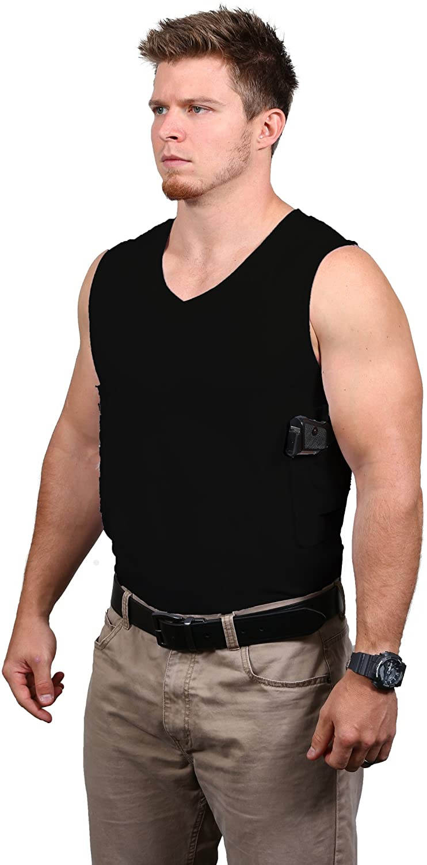 Packin' Tee Men's V-Neck Concealed Carry T-Shirt Black X-Large