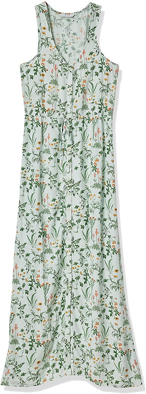 Lucky Brand Women's Sleeveless Scoop Neck Tie Waist Maxi Dress