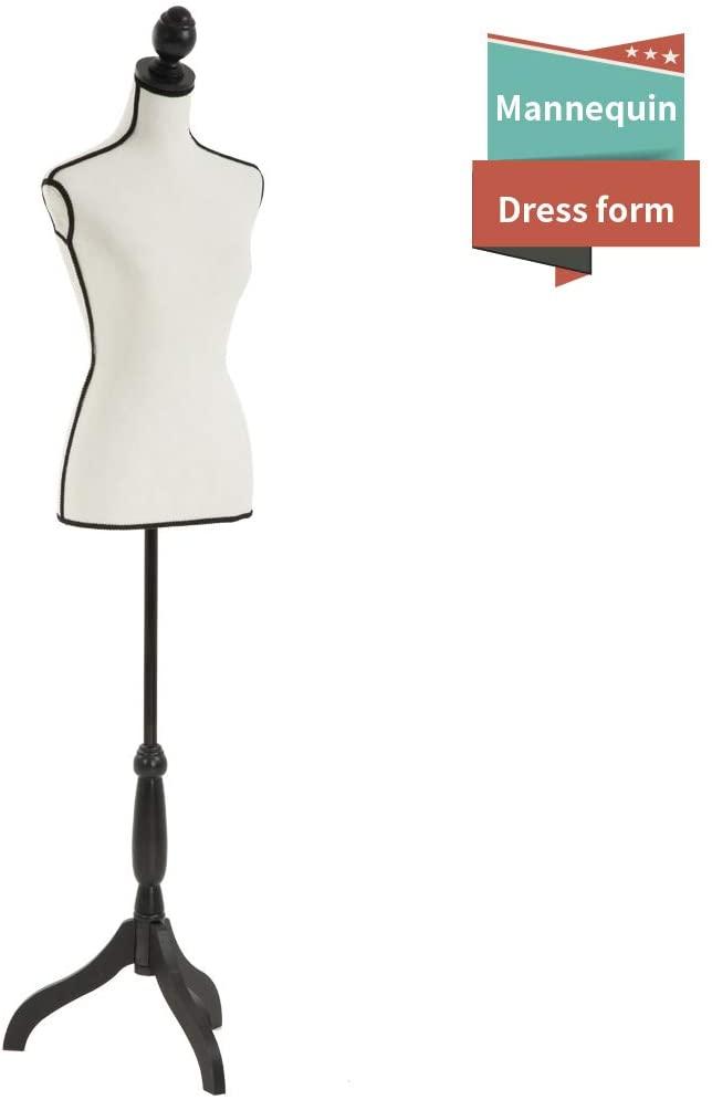 Mannequin Torso Manikin Dress Form Female Dress Model Torso Display Mannequin Body 60-67 Inch Height Adjustable Tripod Stand