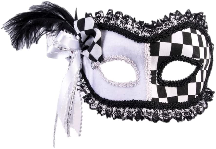 Forum Novelties Harlequin Masquerade Mask Pink Heart Feathers Black Women's Costume Accessory