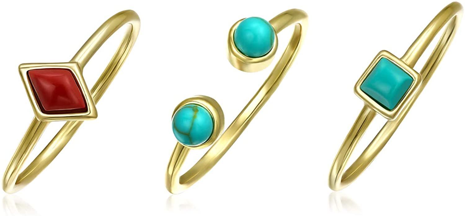 Geometric Compressed Red Blue Turquoise 14K Gold Plated Sterling Silver Midi Knuckle Stackable Ring Set 1MM For Women