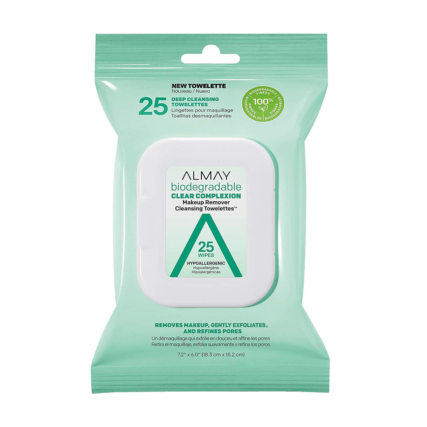 Almay Biodegradable Clear Complexion Makeup Remover Towelettes, 25 Wipes (Pack of 2)
