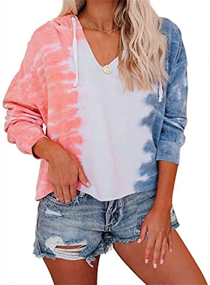 Women's Tie Dye Print V Neck Hoodie Sweatshirts Long Sleeve Hooded Tops