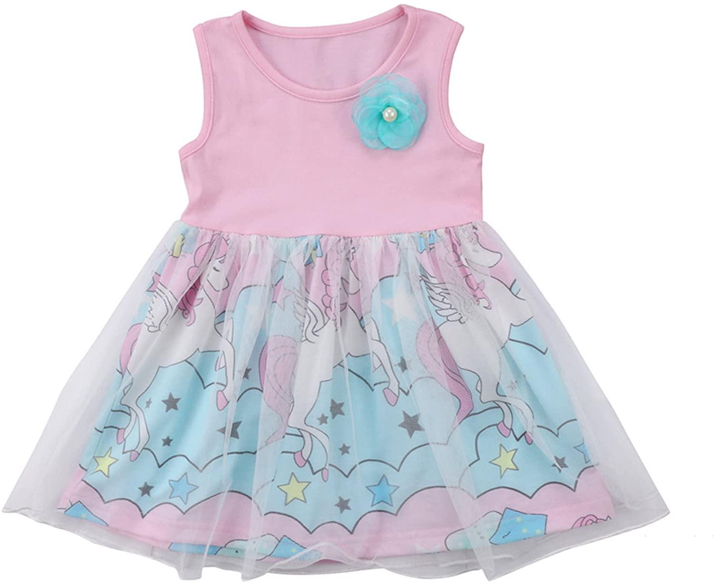 Rush Dance Boutique Princess Girls Birthday Celebration Tutu & Top Set (3T, Pink Unicorn Dress)
