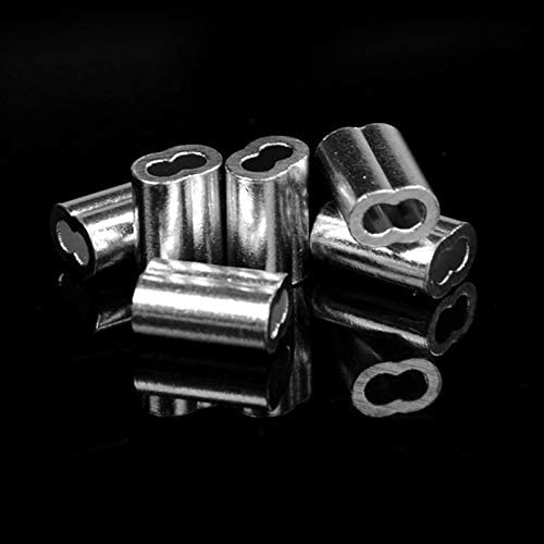 Ochoos Wire Rope Aluminium Sleeve 1/16 inch Wire Rope Aluminum Sleeves Clip Fittings Cable Crimps 200 Pcs