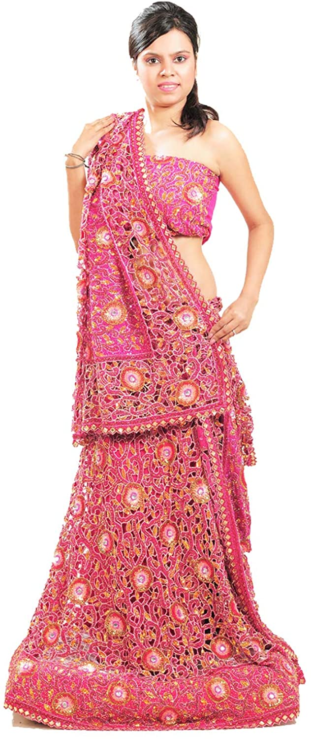 Indian Women Designer Partywear Ethnic Traditional Pink Lehenga Choli.