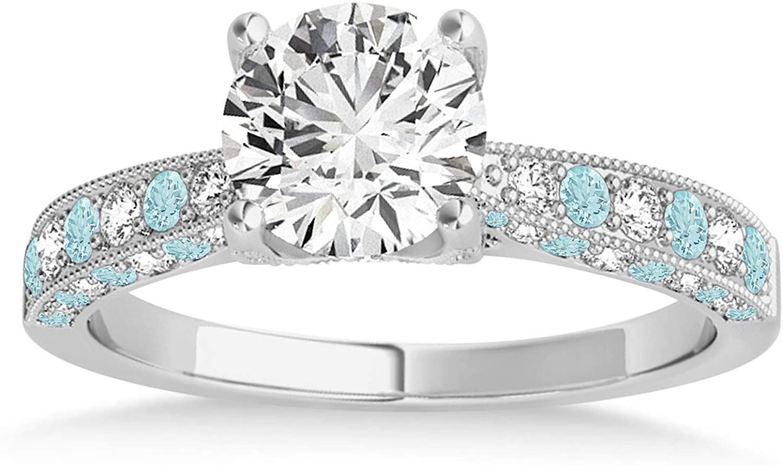 Alternating Diamond and Aquamarine Engravable Engagement Ring in Platinum (0.45ct)