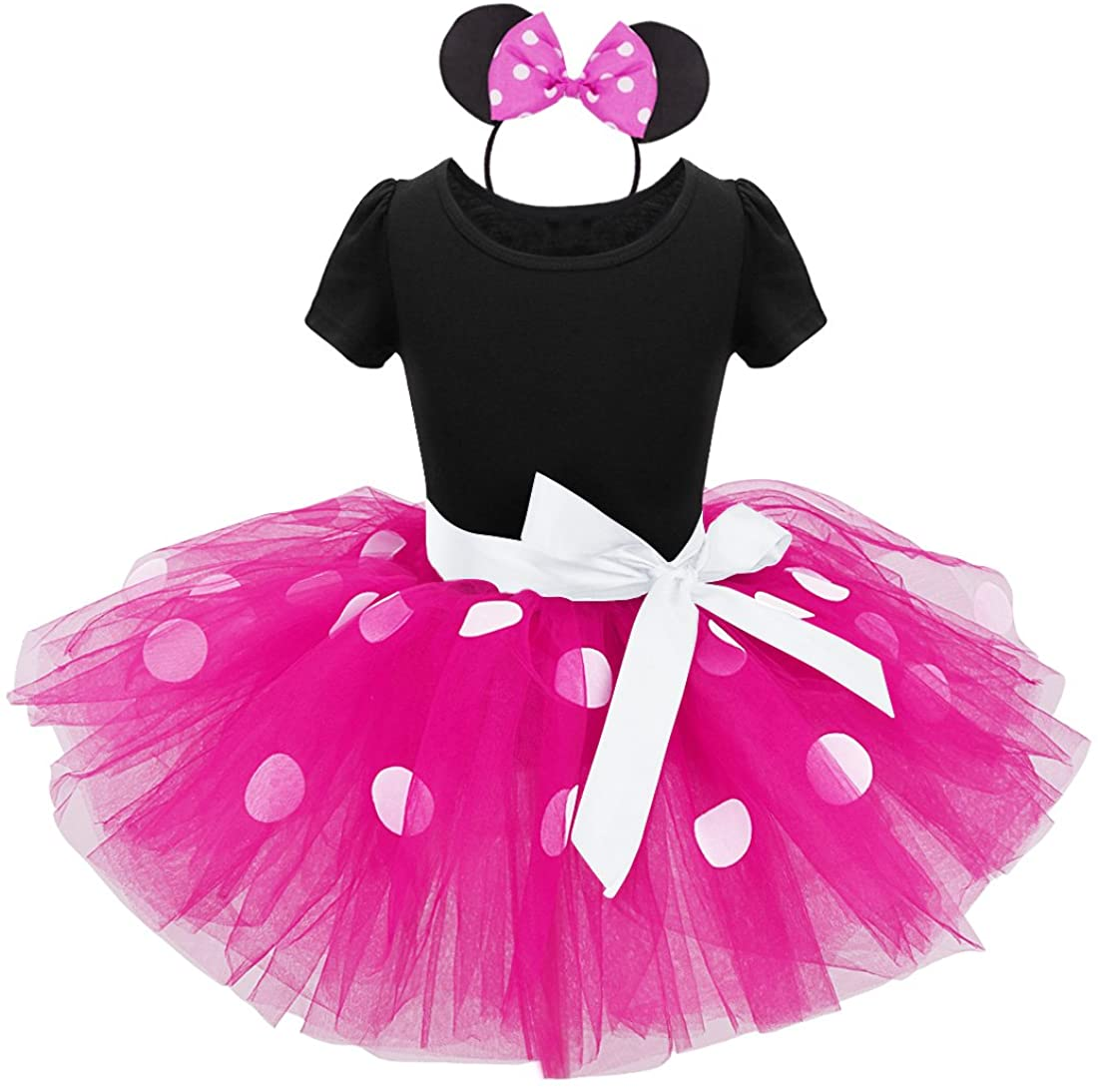TiaoBug Girls Princess Polka Dots Bowknot Tutu Dress Party Costume Ear Headband (3T, Hot Pink)