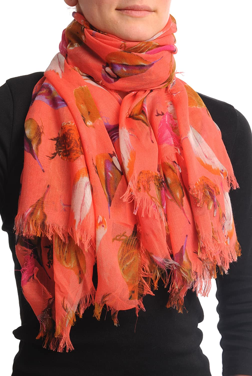 Colourful Birds on Coral Unisex Scarf & Beach Sarong - Pink Designer Scarf