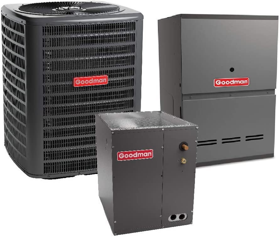 Goodman 3 Ton 15 SEER Air Conditioner Model GSX160361, Cased Vertical Coil CAPF4961C6, 60,000 BTU 80% Efficiency Downflow, Horizontal Gas Furnace Model GCES800603AN and Matching TXV