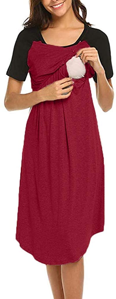 Women's Maternity Nursing Dress Nightgown - vermers Double Layer Breastfeeding Short Sleeve Nightshirt Sleepwear Clothes
