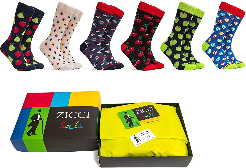 Zicci Socks Cool Crazy Socks Happy Mens Set Of 6 Groomsmen Dress Socks With Fruits Funny Gift Box Apple Socks Cherry