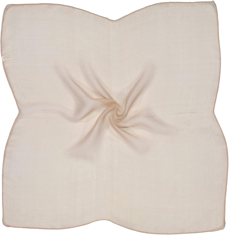 Beige Brown Very Fine Silk Small Square Scarf