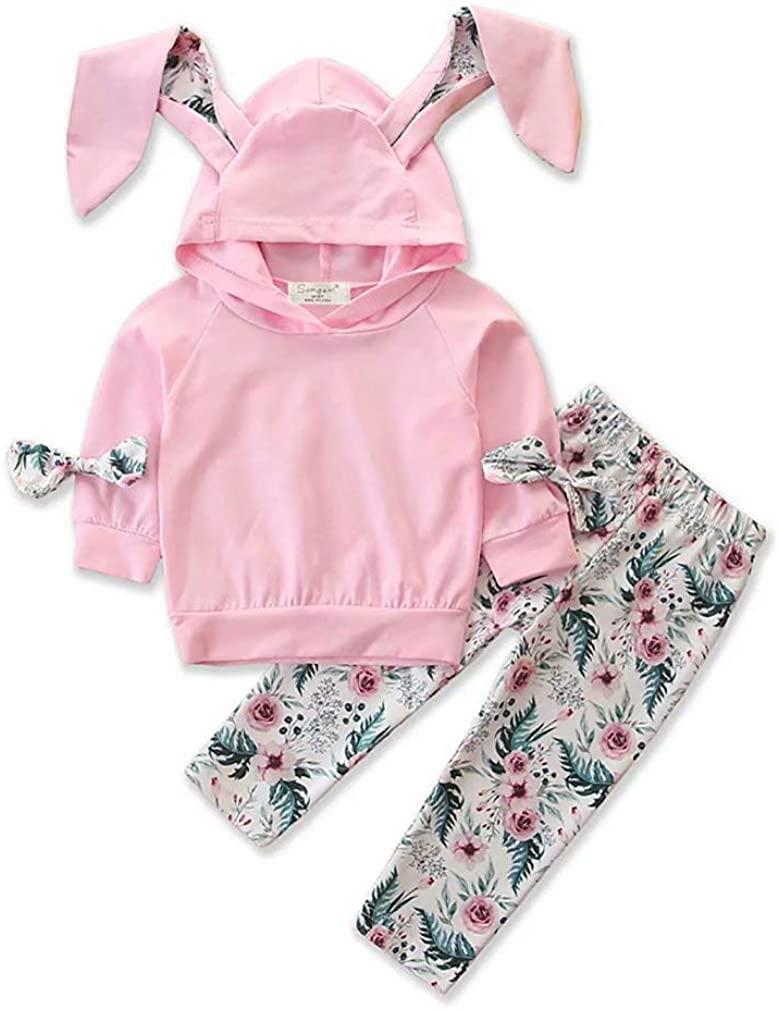 Baby Girl Easter Bunny Ears Outfit Set Hoodie Sweatshirt Long Sleeve Top+ Floral Pants Fall Winter 2pcs Pants Set