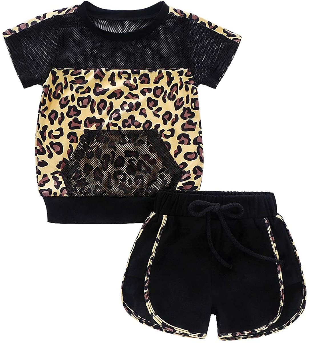 Toddler Baby Girls Summer Outfits Leopard Short Sleeve Pocket Breathable T-Shirt Tops Shorts Clothes Sports Sets