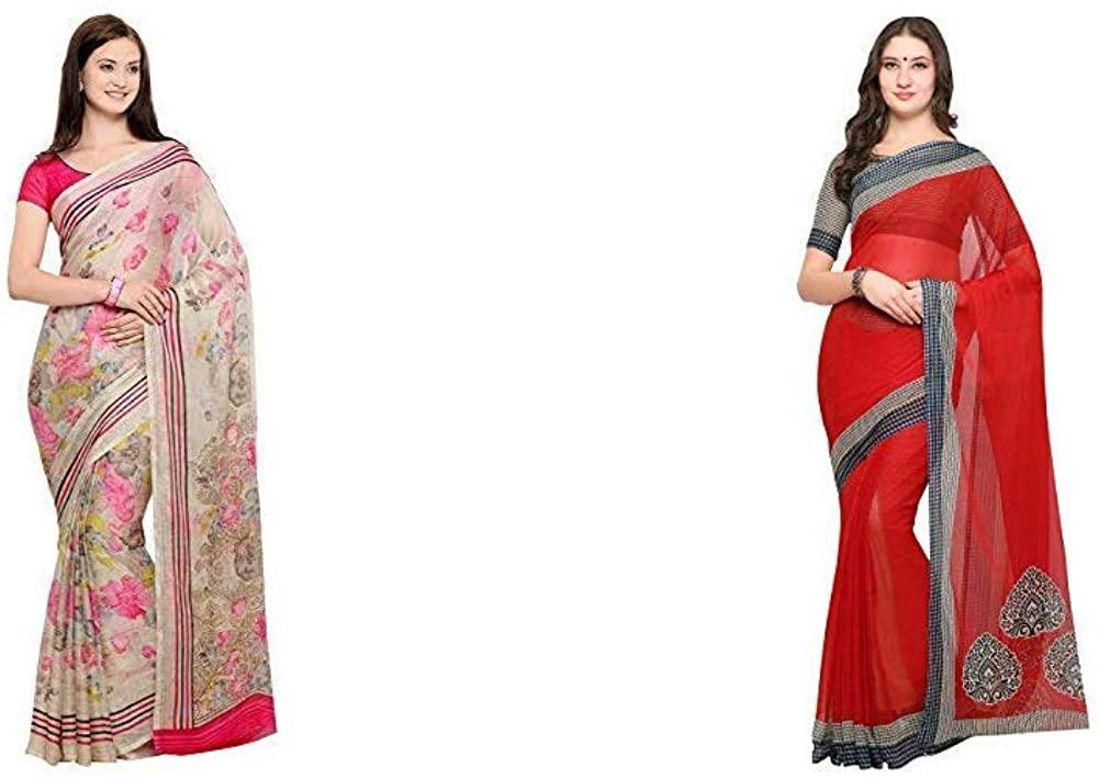 Indian Decor & Attire Women's Saree with Blouse Piece(Pack of 2)(CC1018&Empress1127_Item 1 Color Beige|Item 2 Color Beige_One Size)