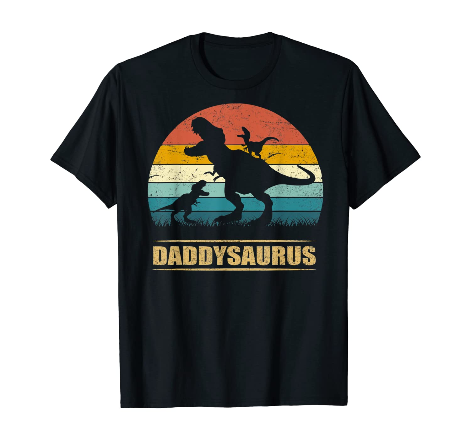Daddy Dinosaur Daddysaurus 2 Two kids Gift Tee For Dad T-Shirt