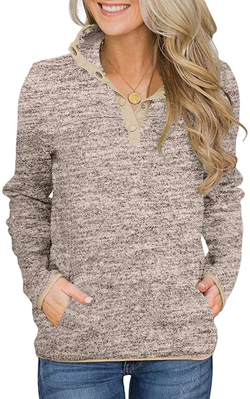 Romanstii Women's Casual Fleece Color Block Sweatshirt Long Sleeve Lightweight 1/4 Button Pullover Tunic Tops with Pockets