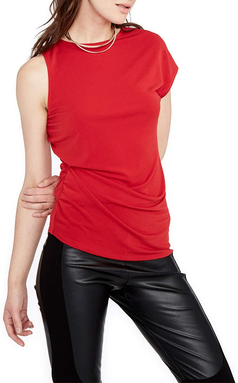 RACHEL Rachel Roy Womens Asymmetrical Ruched Knit Top Red XS