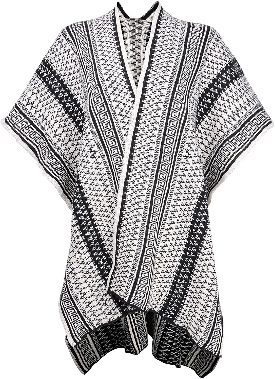 ZLYC Women Aztec Tribal Geometric Blanket Wrap Waterfall Open Front Cardigan Sweater