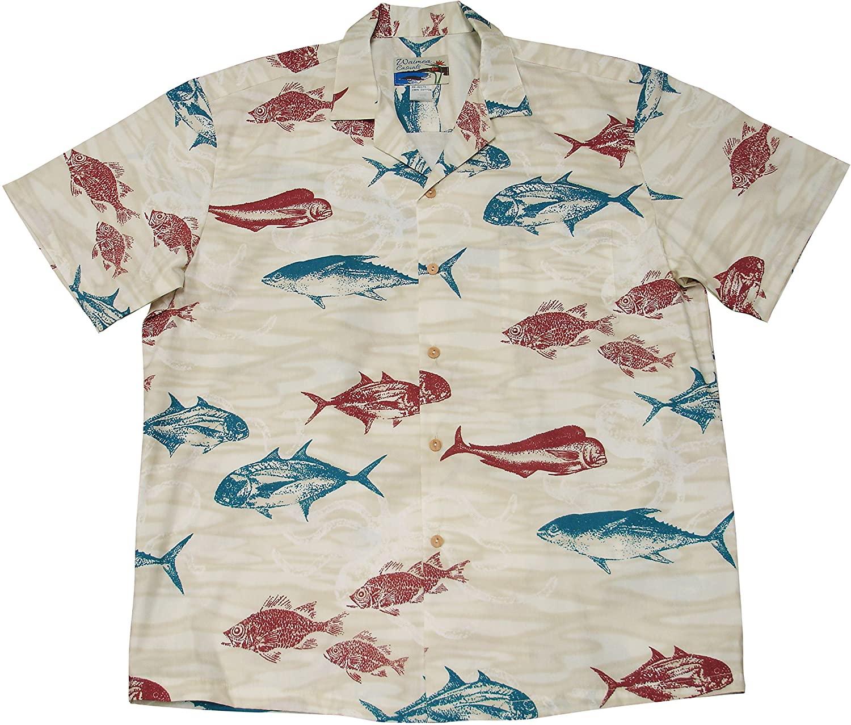 Paradise Found Waimea Casuals Mens Deep Sea Shirt Beige L