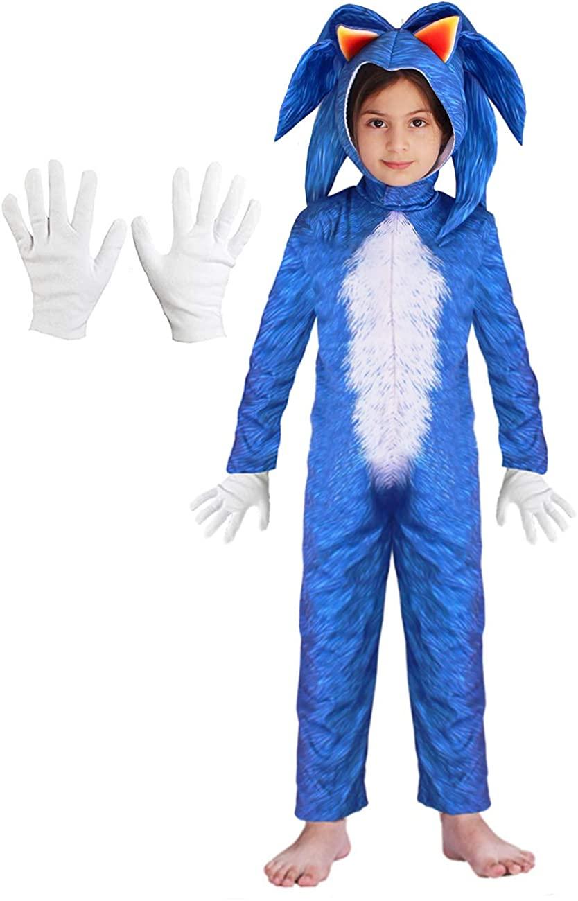 YuDanae Kids Blue Hedgehog Jumpsuit Romper Gloves Unisex Deluxe Costume for Kids Boys Girls Aged 2-12